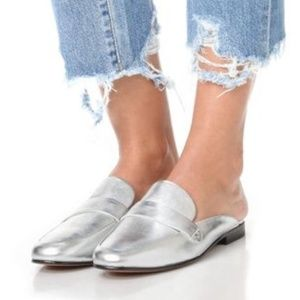 Sam Edelman Silver Leather Perri Mules size 10